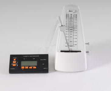 Electronic tuner/metronome and mechanical metronome